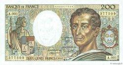 200 Francs MONTESQUIEU FRANCE  1981 F.70.01 pr.NEUF