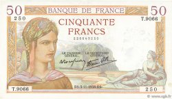 50 Francs CÉRÈS modifié FRANCE  1938 F.18.18