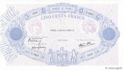 500 Francs BLEU ET ROSE modifié FRANCE  1938 F.31.09 SUP