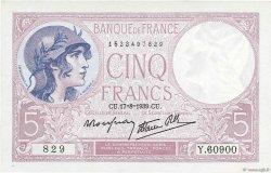 5 Francs VIOLET modifié FRANCE  1939 F.04.06 pr.NEUF