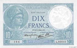 10 Francs MINERVE modifié FRANCE  1941 F.07.27 NEUF
