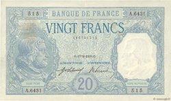 20 Francs BAYARD FRANCE  1919 F.11.04 TTB