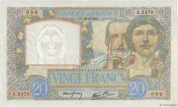 20 Francs SCIENCE ET TRAVAIL FRANCE  1941 F.12.17 SPL+