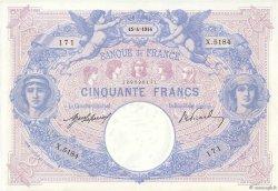 50 Francs BLEU ET ROSE FRANCE  1914 F.14.27 TTB+