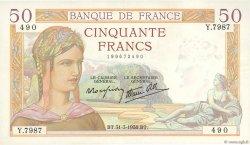 50 Francs CÉRÈS modifié FRANCE  1938 F.18.11 pr.SPL