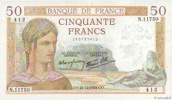50 Francs CÉRÈS modifié FRANCE  1939 F.18.36 SPL