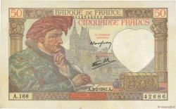 50 Francs JACQUES CŒUR FRANCE  1942 F.19.19 SUP+