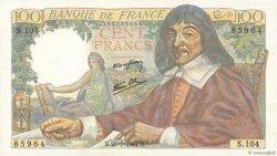 100 Francs DESCARTES FRANCE  1944 F.27.06 SPL+