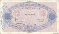 500 Francs BLEU ET ROSE FRANCE  1915 F.30.22 TB+