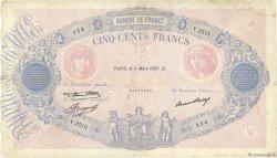 500 Francs BLEU ET ROSE FRANCE  1937 F.30.38 TB