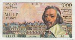 1000 Francs RICHELIEU FRANCE  1954 F.42.06 SPL