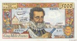 5000 Francs HENRI IV FRANCE  1957 F.49.04 pr.SUP