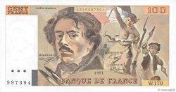 100 Francs DELACROIX imprimé en continu FRANCE  1991 F.69bis.03a1b SUP+
