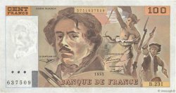 100 Francs DELACROIX  UNIFACE FRANCE  1995 F.69u.07 TTB+