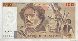 100 Francs DELACROIX  UNIFACE FRANCE  1995 F.69u.07
