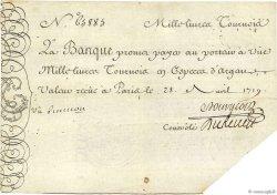 1000 Livres Tournois gravé FRANCE  1719 Dor.12 TTB