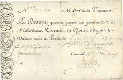 1000 Livres Tournois gravé FRANCE  1719 Dor.14 pr.TTB