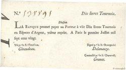 10 Livres Tournois typographié FRANCE  1720 Dor.22 SUP