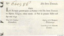 10 Livres Tournois typographié FRANCE  1720 Dor.22 SPL