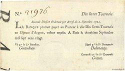 10 Livres Tournois typographié FRANCE  1720 Dor.23 SPL