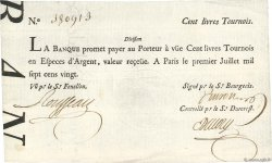 100 Livres Tournois typographié FRANCE  1720 Dor.27 SUP