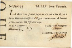 1000 Livres Tournois typographié FRANCE  1720 Dor.29x SUP