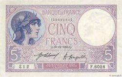 5 Francs VIOLET FRANCE  1920 F.03.04 SUP