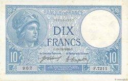 10 Francs MINERVE FRANCE  1920 F.06.04 TTB+