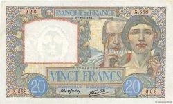 20 Francs SCIENCE ET TRAVAIL FRANCE  1940 F.12.03 pr.SUP