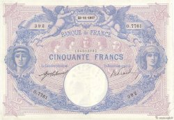 50 Francs BLEU ET ROSE FRANCE  1917 F.14.30 TTB