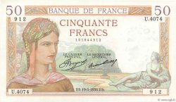 50 Francs CÉRÈS FRANCE  1936 F.17.23 SUP