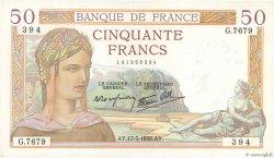 50 Francs CÉRÈS modifié FRANCE  1938 F.18.10 SPL
