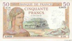 50 Francs CÉRÈS modifié FRANCE  1938 F.18.15 SPL