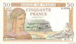 50 Francs CÉRÈS modifié FRANCE  1939 F.18.29 pr.SUP