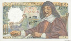 100 Francs DESCARTES FRANCE  1942 F.27.01 SPL+