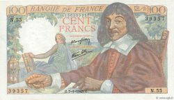 100 Francs DESCARTES FRANCIA  1943 F.27.03