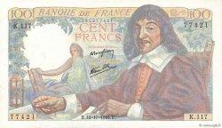 100 Francs DESCARTES FRANCE  1944 F.27.08 SPL