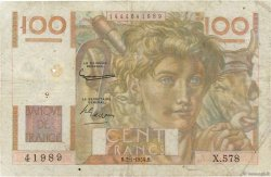 100 Francs JEUNE PAYSAN filigrane inversé FRANCE  1954 F.28bis.04 B+