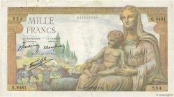 1000 Francs DÉESSE DÉMÉTER FRANCE  1943 F.40.38 TB+
