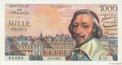 1000 Francs RICHELIEU FRANCE  1953 F.42.02 SPL