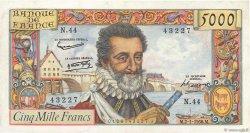 5000 Francs HENRI IV FRANCE  1958 F.49.05 SUP