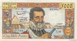 5000 Francs HENRI IV FRANCE  1958 F.49.07 TTB