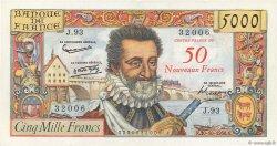 50 NF sur 5000 Francs HENRI IV FRANCE  1958 F.54.01 TTB à SUP