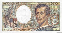 200 Francs MONTESQUIEU alphabet 101 FRANCE  1992 F.70bis.01 TTB à SUP
