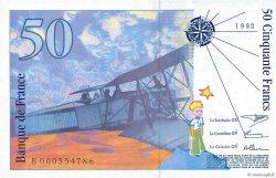 50 Francs SAINT-EXUPÉRY FRANCE  1992 F.72.01aB NEUF