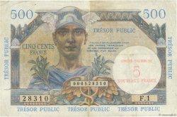 5NF sur 500 Francs TRÉSOR PUBLIC FRANCE  1960 VF.37.01 pr.TTB