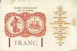 1 Franc MINES DOMANIALES DE LA SARRE FRANCE  1919 VF.51.02 TTB+