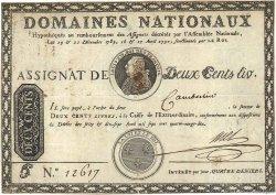200 Livres sans coupons FRANCE  1790 Ass.01a TB+