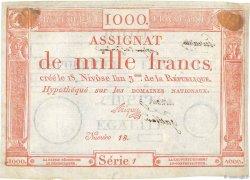 1000 Francs vérificateur FRANCE  1795 Ass.50c TTB+
