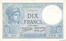 10 Francs MINERVE FRANCE  1922 F.06.06 NEUF